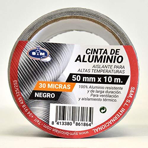 S&M 861864 Cinta aluminio negra 50 mm x 10 m (espesor 30 micras) SANEAPLAST- Cinta adhesiva de aluminio multiusos-– Rollo de 10 metros