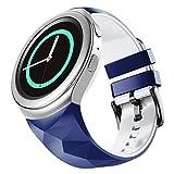 NotoCity Compatible con Samsung Gear S2 Pulsera de Silicona Correa de Reloj de Repuesto Deportivo para Samsung Gear S2 Smartwatch SM-R720 SM-R730(Azul Blanco,L)