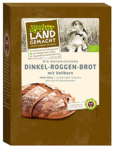 500g Bio Dinkel-Roggen-Brot - Brotbackmischung - ergibt ca. 750g Brot - Rolle Mühle -