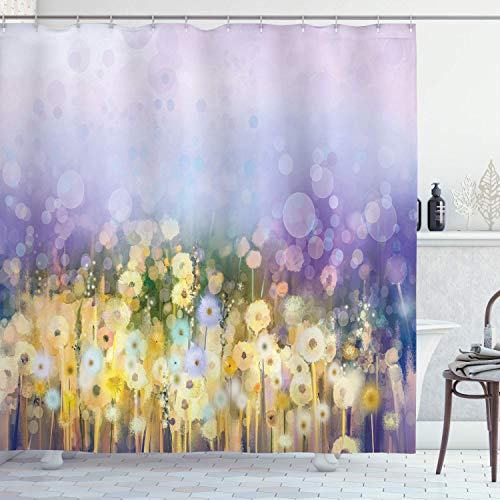 TQQQF Chamomile and Dandelion Field Meadow Scenery Bathroom Shower Curtain Waterproof Bathroom Decoration 72x72inch Easy to Clean 7 Contains 12 Plastic Hooks