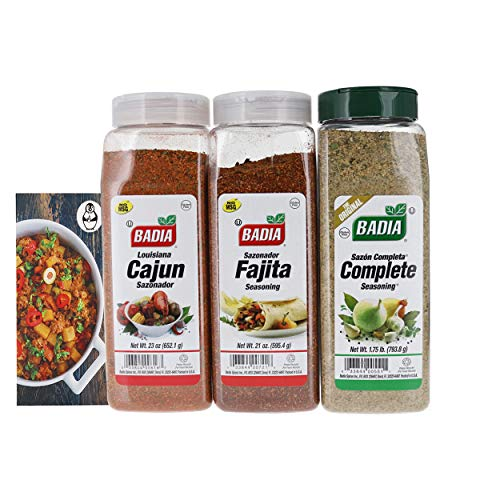 Badia Fajita Seasoning, Complete Seasoning, and Cajun Seasoning Bundle (3 Pack)