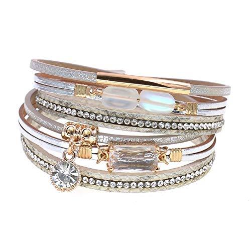 GUOZHIJUN Modieuze armbanden met glazen kralen, leer, voor vrouwen en feestjes