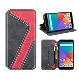 MOBESV Smiley Xiaomi Mi A1 Hülle Leder, Xiaomi Mi A1 Tasche Lederhülle/Wallet Hülle/Ledertasche Handyhülle/Schutzhülle mit Kartenfach für Xiaomi Mi A1, Schwarz/Rot