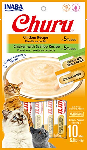 INABA Churu Chicken Lickable Creamy Purée Cat Treats 2 Flavor Variety Pack of 10 Tubes