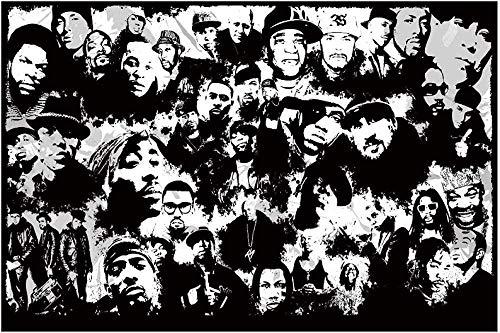 ZZFJF Rompecabezas de madera de 1000 piezas para adultos niños rompecabezas adultos rompecabezas música rapero estrellas negro blanco divertido regalo de arte 50 x 75 cm