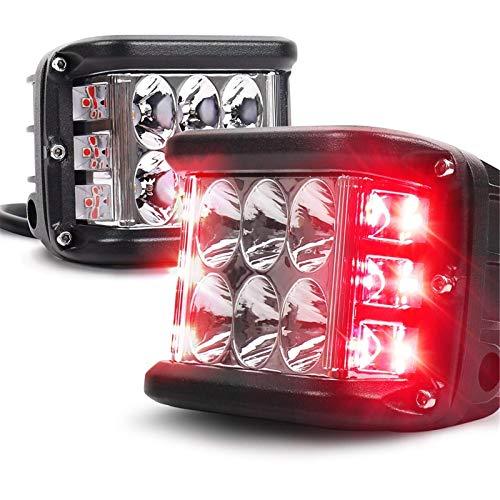 1 Stück Ultrahochhelle Dual Side Shooter Led Strobe Cree Pods Light Zweifarbige, Auto Led Scheinwerfer Arbeitsscheinwerfer, Für Traktor, Auto, Offroad, SUV, LED Strahler LKW (Weiß Rot)