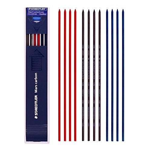 Staedtler Mars Carbon Lead 12 x 2 mm HB Color Mix(Blue 4 ea+Red 4 ea +Black 4 ea)