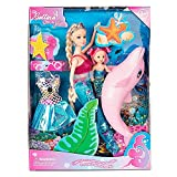 """Yellow River Mermaid Princess Doll Playset, Color Changing Mermaid Tail by Reversing Squins, 12"""" Fashion Dress Doll with 3"""" Little Mermaid Dolphin and Accessories, Mermaid Gift for Girls"""
