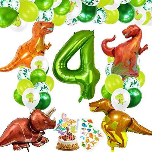 Decoracion Cumpleaños Dinosaurios, Globos de Cumpleaños Dinosaurios, Globo Numero 4 Verde, Globos Dinosaurios, Globos de Cumpleaños 4 Años, Globos Grandes Gigantes Helio