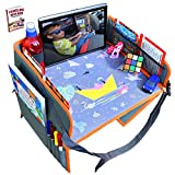 2 in 1 Convertible Travel Tray in Backseat Car Organizer with Tablet Holder for Kids and Toddlers by OT Valley   Car Seat, Stroller or at Home -Snack and Play Tray