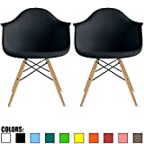 2xhome Set of Two (2) - Plastic Armchair Natural Wood Legs Eiffel Dining Room Chair - Lounge Chair Arm Chair Arms Chairs Seats Wooden Wood Leg Wire Leg (Black)