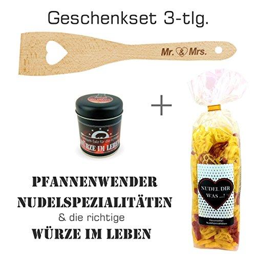 """Geschenkset 3-tlg. """"Mr & Mrs"""" Herz-Nudeln """"Nudel dir was...!"""" , Premium Salz """"Für die richtige Würze im Leben"""" und Herz-Pfannenwender / Hochzeitsgeschenk / kreatives Geschenk /"""