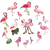 Military Ba 14pcs Pink Flamingo Scene Patch Tropical Embroidered Iron On Applique Safari Bird-6