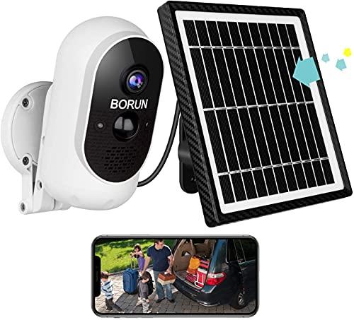 Caméra Surveillance WiFi Extérieure sans Fil, Caméra Solaire BORUN avec Panneau Solaire, Vision de Jour et de Nuit 1080P, Détection de Mouvement