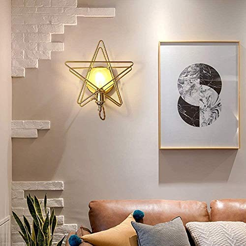 Sconce wandlamp Aisle trap gang slaapkamer nachtlampje balkon gouden vijfpuntige ster muur lamp binnenverlichting wandlampen