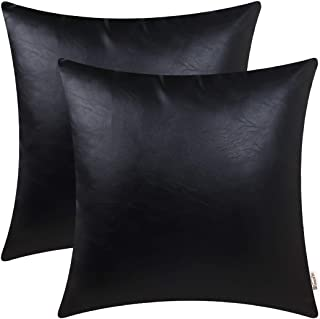 BRAWARM Pack of 2 Cozy Throw Pillow Covers Cases for Couch Sofa Bed Solid Faux Leather Soft Luxury Cushion Covers Both Sides Home Decoration 18 X 18 Inches Black