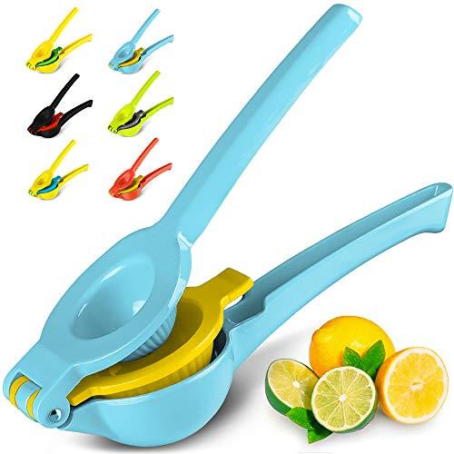Zulay Premium Quality Metal Lemon Lime Squeezer - Manual Citrus Press Juicer (Blue Yellow)