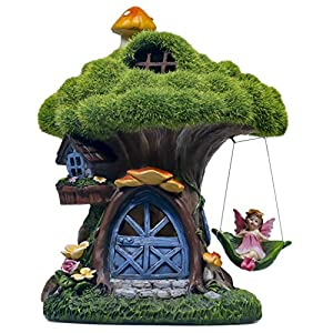 teresas collections flocked fairy house garden statues with solar powered lights waterproof resin outdoor cottage with angel lawn ornaments figurines for patio yard decorations 77 inch