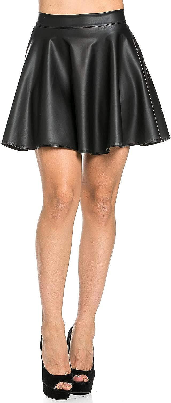 SOHO GLAM High Waisted Faux Leather Skater Skirt Black Burgundy Navy Blue