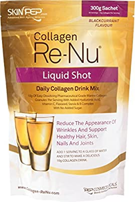 SkinPep Collagen Re-Nu Liquid Shot Sachet 300g - 30 Day Supply - The Anti-Ageing Daily Collagen Drink Mix - Marine Collagen - Collagen Powder - Collagen Supplement - SkinPep Nutritional Supplement