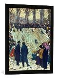 Gerahmtes Bild von Max Stern Rodelbahn im Düsseldorfer Hofgarten, Kunstdruck im hochwertigen handgefertigten Bilder-Rahmen, 50x70 cm, Schwarz matt