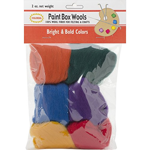 Colonial Needle Paint Box Wools .33oz 6/Pkg-Bright & Bold -RD/GLD/GRN/Roy/Pur/Orn