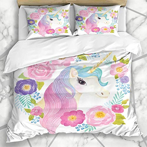 Juegos de fundas nórdicas Guirnalda Cuento de hadas Cabeza de unicornio Flores Acuarela Naturaleza Chica Fiesta de cumpleaños Pared de la habitación Ropa de cama de microfibra con 2 fundas de almohada