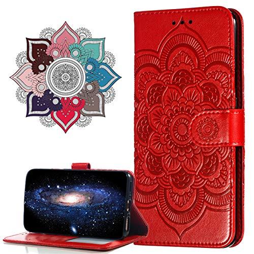 MRSTER Motorola One Zoom Custodia Flip, Goffratura Design Case in PU Pelle Internamente Silicone TPU Cover Portafoglio Cover Premium Custodia per Motorola One Zoom. LD Mandala Red