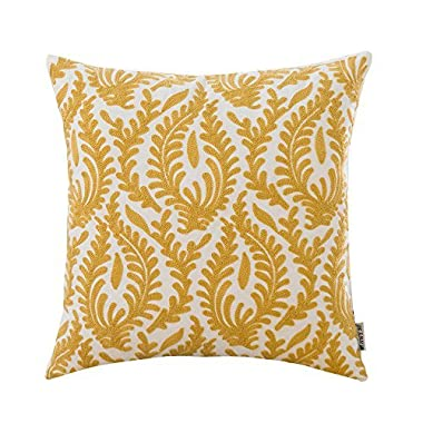 HWY 50 Yellow Throw Pillow Covers For Couch Sofa Bed 18x18 inch, 1 Piece Cotton Decoration Embroidered Throw Pillows Cases, European Abstract Branches Cushion Cover