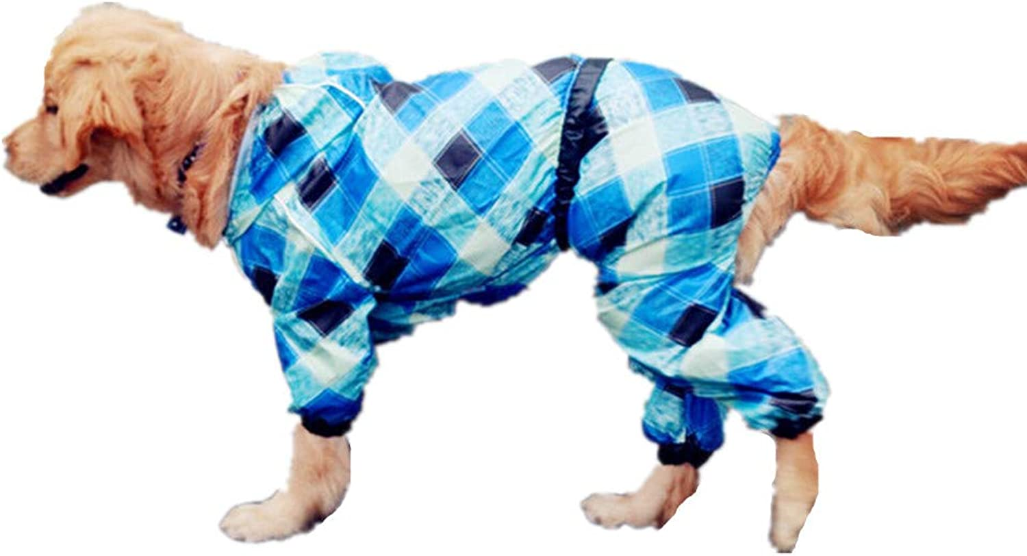 Pet Dog Raincoat Poncho,Dog Puppy Pet Lightweight Waterproof with Hood and Harness Hole (Neck 2264cm, Length2075cm)