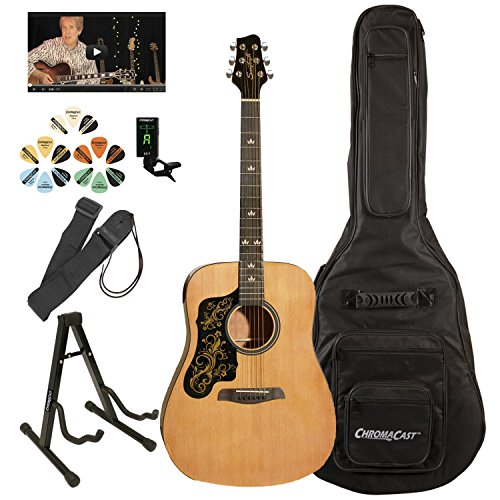 Sawtooth Beginner's Acoustic Guitar Pack (Left Handed, Natural with Custom Black Pickguard & Gold Graphic)