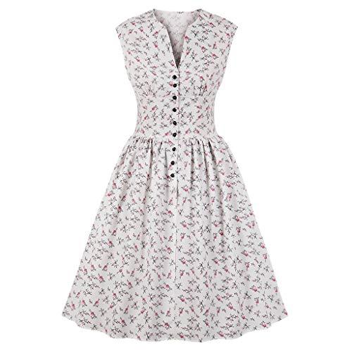 ♥ Loveso♥ 1950er Vintage Retro Rockabilly Kleid Cocktailkleider Blumenmuster V-Ausschnitt Faltenrock Elegant Bekleidung Mit Knopfleiste