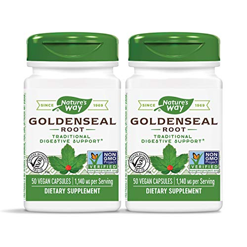Nature's Way Premium Herbal Goldenseal Root 570 mg, 50 Vegetarian Capsules, Pack of 2
