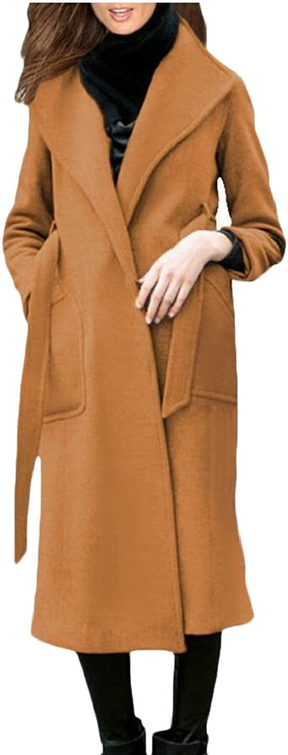 Gocgt Women's Winter Single Breasted Long Trench Overcoat Trench Coat with Belt
