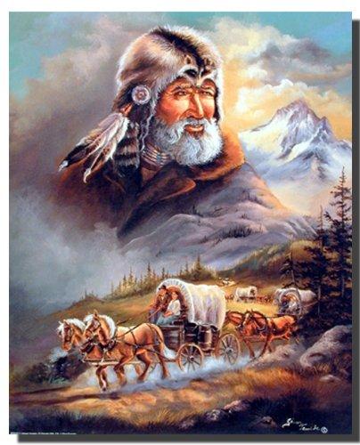 Planwagen Western Cowboy Wandbild Poster (16 x 20 cm)