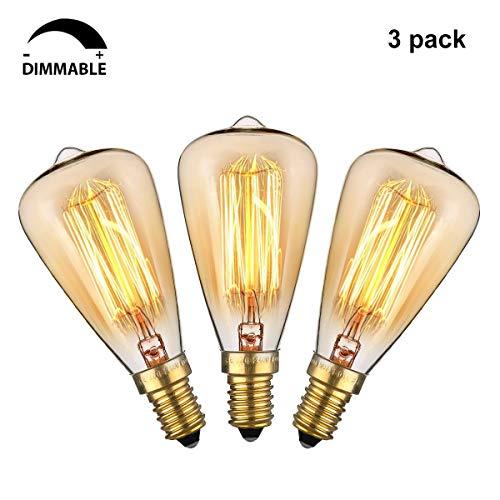 KINGSO Edison Vintage Retro Glühbirne (40W, ST48, Dimmbar) Retro Birne E14 Glühlampe Warmweiß Dekorative Glühbirne Ideal für Nostalgie und Antik Beleuchtung 2200K 220V - 3 Pack