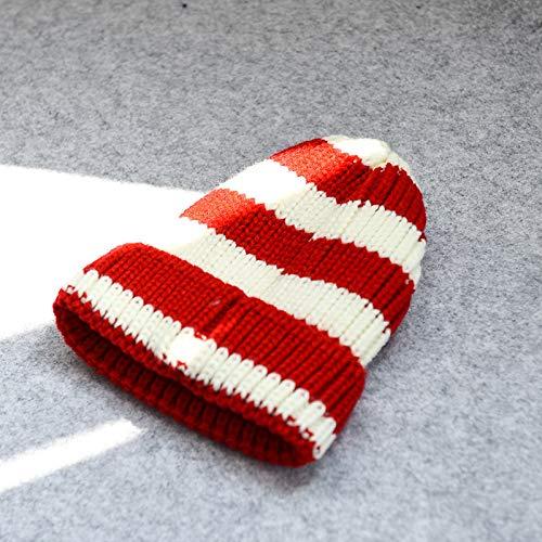 mlpnko Sombrero para niños Color a Rayas Sombrero de Punto Hombres y Mujeres Salvajes bebé cálido Capucha Moda Lana Sombrero Rojo S
