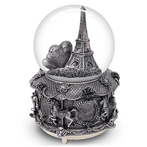 QTKJ Paris Schneekugel mit Farbe wechselnde LED-Lichter, Eiffelturm Musik Snow Globe mit Merry-Go-Round Boden, 15,2cm hoch Souvenirs Collection
