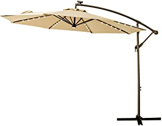 C-Hopetree 10' Offset Cantilever Hanging Umbrella with Solar LED Lights for Large Outdoor Patio Table Balcony Poolside Deck Garden, Beige