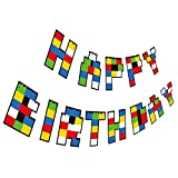 Gyzone Building Block Birthday Garland Banner Supplies for Kids and Adults Birthday Party Decorations Party Supplies (Building Block)