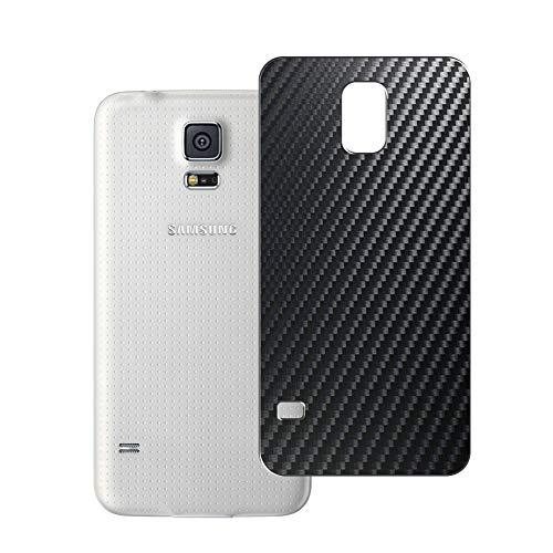 Vaxson 2 Unidades Protector de pantalla Posterior, compatible con Samsung Galaxy S5 Plus G901F, Película Protectora Espalda Skin Cover - Fibra de Carbono Negro