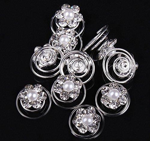 Musuntas 10er Set wunderschöne weiß Haarspiralen Curlies aus Perlen Strass, Braut Hochzeit Haarschmuck