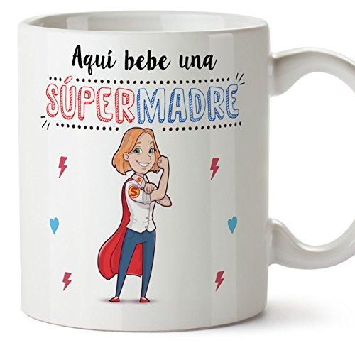 MUGFFINS Tazas Mama para Madres – AQUÍ Bebe UNA Super Madre – Taza Desayuno Original 350 ml - Idea Regalo para el día de la Madre