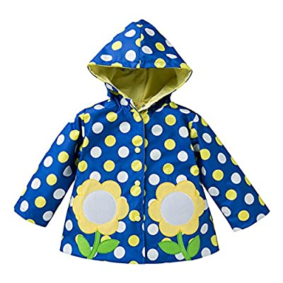 Evelin LEE Kids Girls Waterproof Floral Printed Hooded Jacket Outwear Raincoat Blue