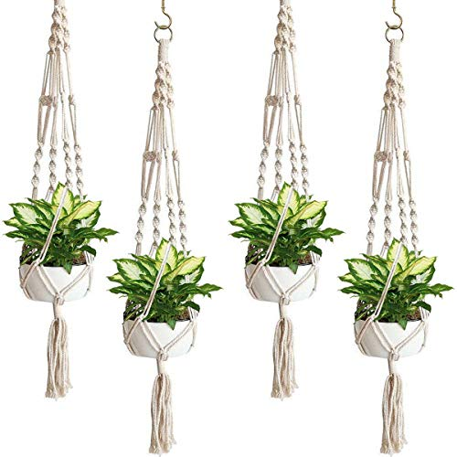 Eurobuy Grucce per piante in macramè, per vasi da fiori, per interni ed esterni, per piante, in corda di cotone fatta a mano, per casa, patio, giardino (confezione da 4)