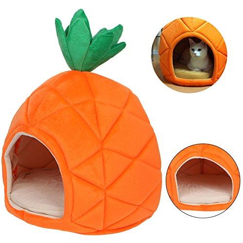 ECMQS Luxury Deluxe Pineapple Pet House Dog Cat Puppy Warm Cave Nest Cozy Sleeping Bed