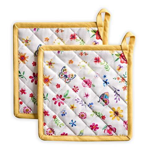 Maison d' Hermine Happy Florals-Sweety 100% Baumwolle Set mit 2 Topflappen BBQ | Kochen | Backen | Mikrowelle | Grillen | Frühling/Sommer (20 cm x 20 cm)