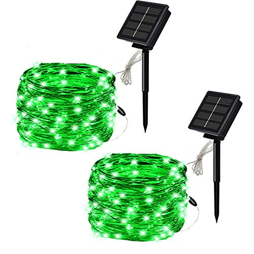SOLARMKS 2 Pack Solar String Lights ,33ft 100 LED Copper Wire Solar Lights Outdoor Waterproof Garden Decoration for Patio, Gate, Yard, Party, Wedding, Christmas,Xmas Tree (Green)