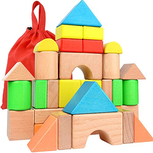 Large Wooden Building Blocks Set - Educational Preschool Learning Toys with Carrying Bag , Toddler...
