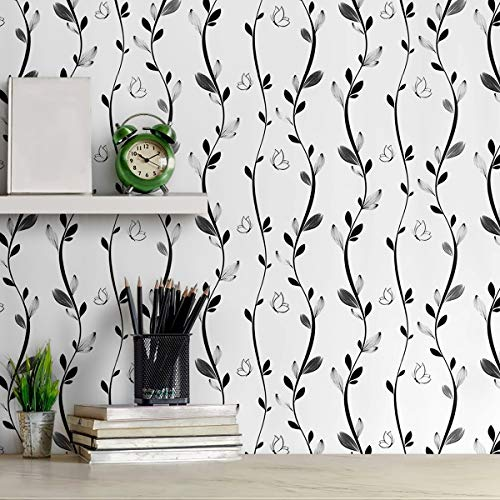 Carta da parati autoadesiva in bianco e nero con motivo floreale, rimovibile e bastone da parete, con vite, colore nero, con farfalle, per decorazione della stanza, 17,7 x 118